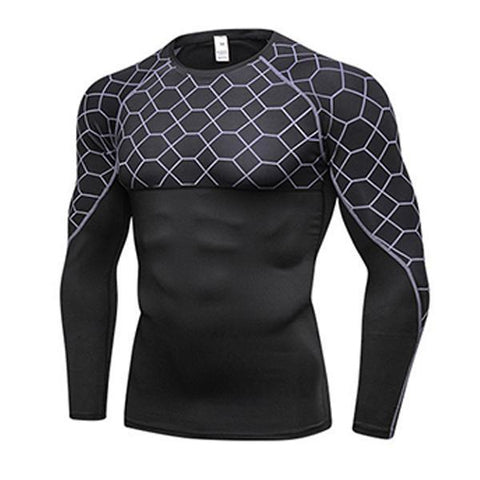 Sports Tights Long Sleeve Men's Printed Stitching Fitness Stretch Suit