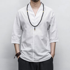 Japanese Style Cotton And Linen V-Neck Short-Sleeved Shirt