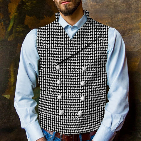 Men's Lapel Houndstooth Double-breasted Vest