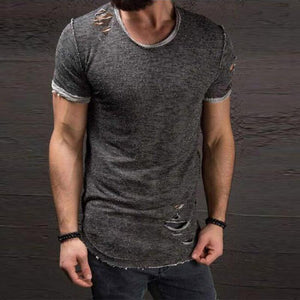 Ripped Round Collar Short Sleeves T-Shirt