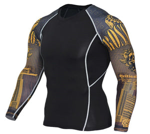 Men's Fashion Sports Quick-Drying Flower Arm Long Sleeve