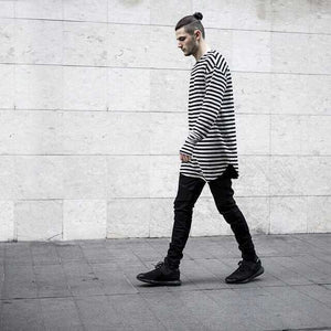 Men's Cotton Striped Crew Neck And Long T-Shirt