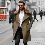 Male Chic Plain Lapel Collar Button Thicken Woolen Long Coat
