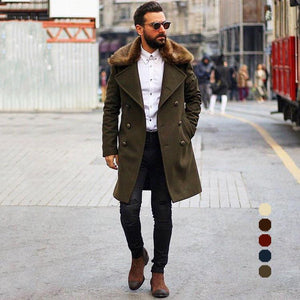 Chic Plain Lapel Collar Button Thicken Woolen Long Coat