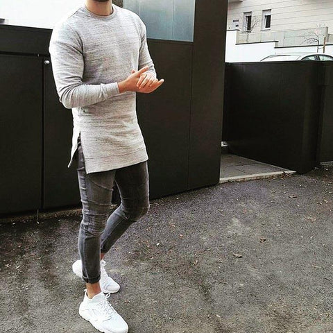 Simple Gray Slim Round Neck Split Long-Sleeved T-Shirt