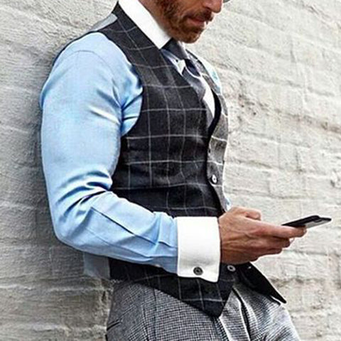 Classic Check V Neck Fitted Sleeveless Vest
