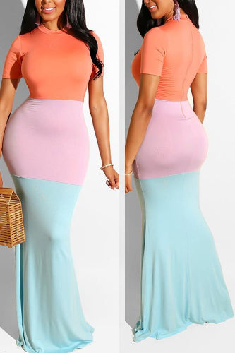 Fresh Breeze Color Block Casual Mermaid Dress