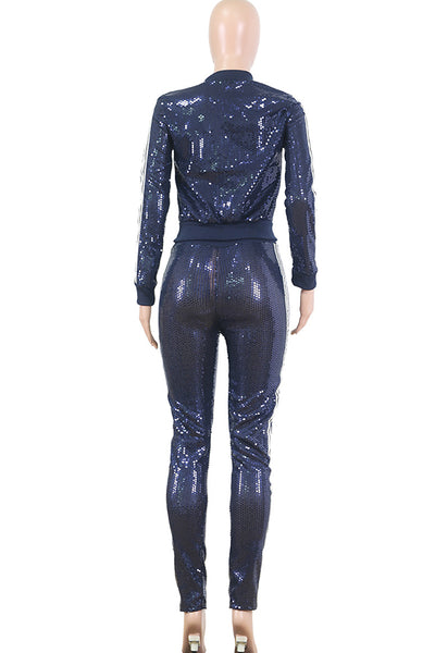 Blue Polyester OL Sequin Two Piece Suits Patchwork pencil Long Sleeve  MO161329