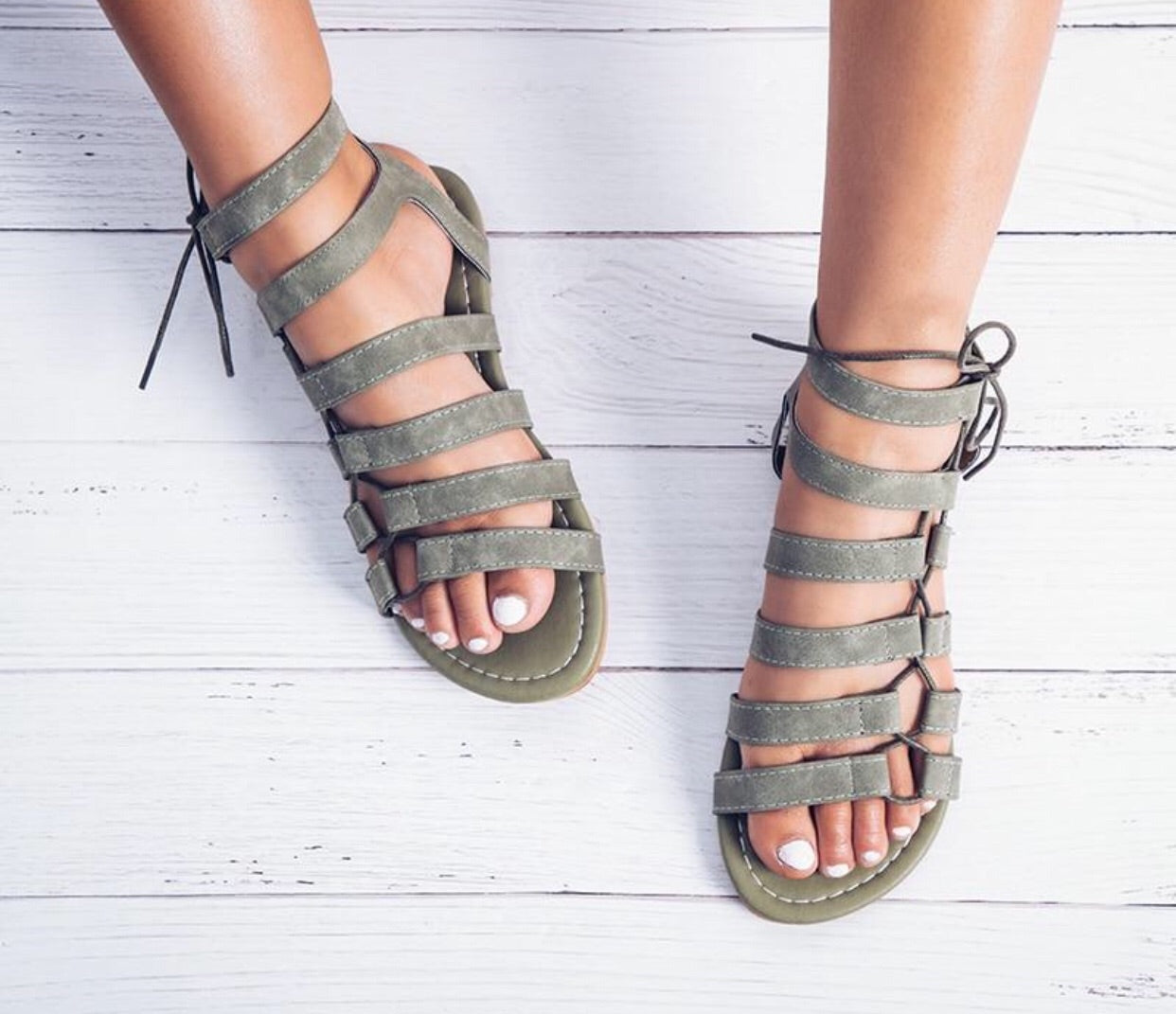 Gladiator Ankle Strap Lace Up Sandals