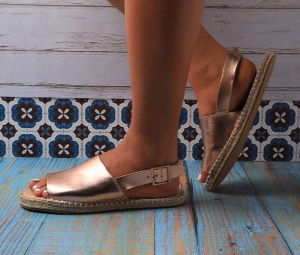 Leather Buckle Back Strap Hemp Ladies Flats