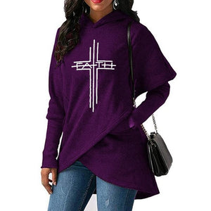 2019 Women Cross Faith Print Hoodie