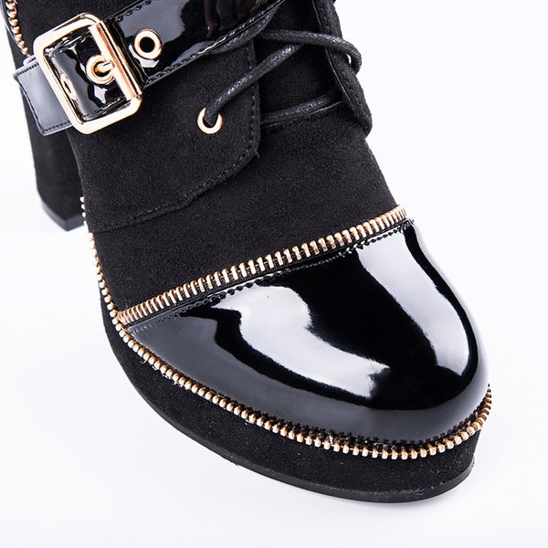 Women Buckle Strap Motorcycle Boots