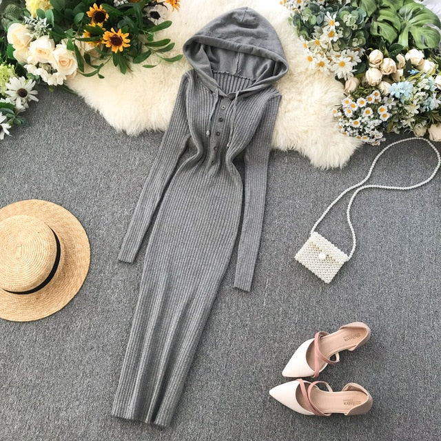Vintage Slim Button Hooded Sweater Dress