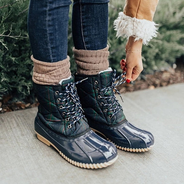 Plaid Print Jelly Ankle Rain Boots