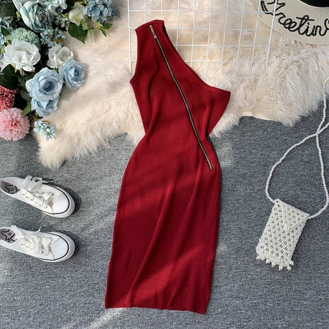 Sexy Off Shoulder Oblique Zipper Bodycon Dresses