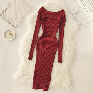 Sexy Chest Knitted Bodycony Dress