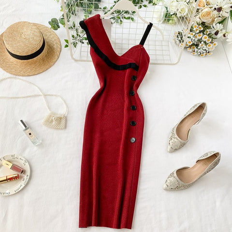 One Shoulder Knitted Elegant Knit Dress