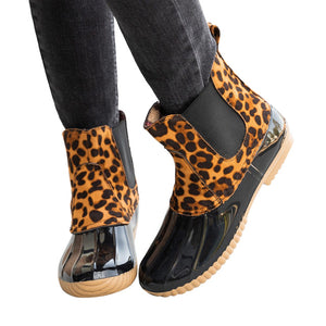 Jelly Leopard Print Ankle Rain Boots