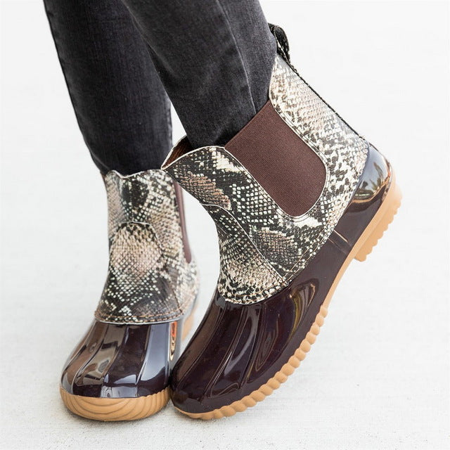 Snake Skin Jelly  Ankle Rain Boots