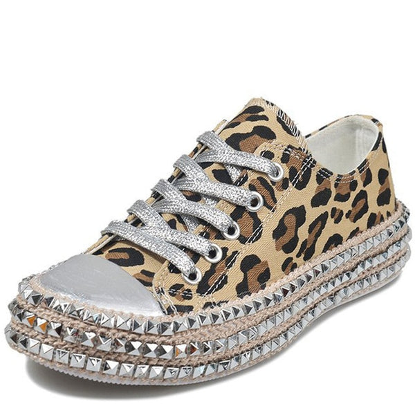 Sexy Leopard Rivet Canvas Sneakers