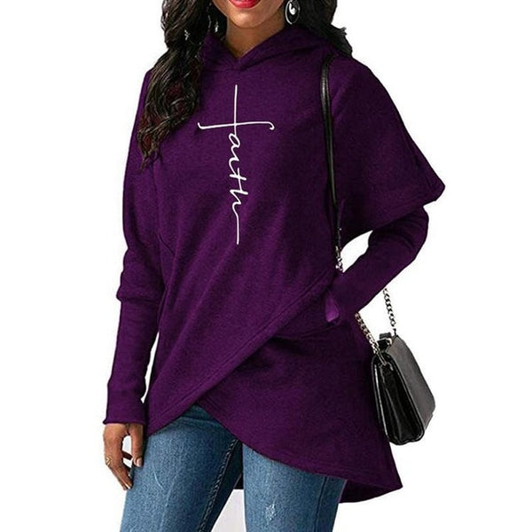 Cross Style Faith Print Hoodie Sweater