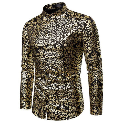 Golden Floral Printed Dress Shirts  S-XXL