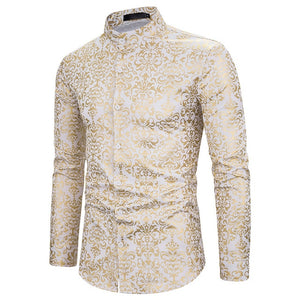 Smooth Gold Floral Printed Dress Shirts  S-XXL