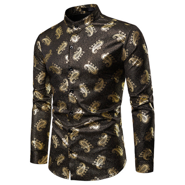 Maple Floral Printed Dress Shirts  S-XXL