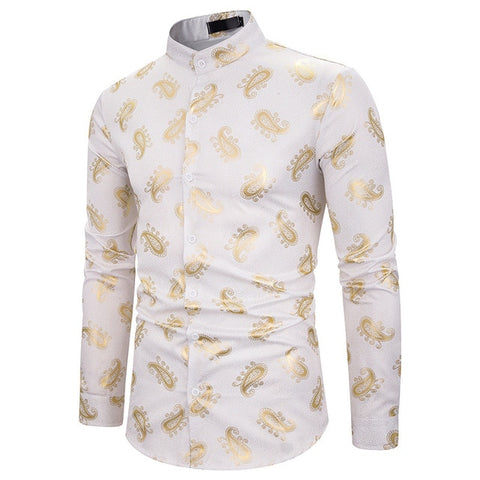 New Luxury Floral Printed Dress Shirts  S-XXL