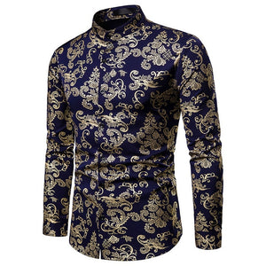 Blue Rose Floral Printed Dress Shirts  S-XXL