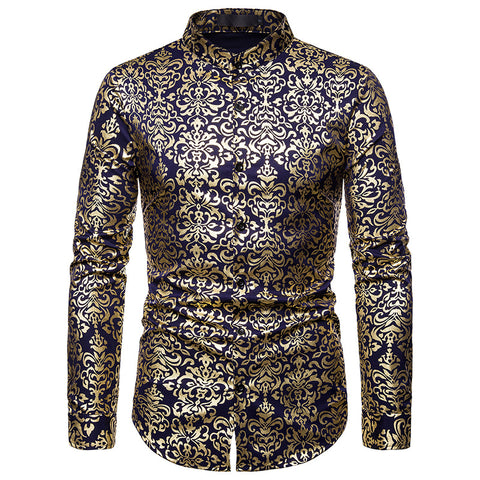 Blue & Shiny Luxury Floral Printed Dress Shirts  S-XXL