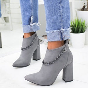 Grey Chained Ankle Boots