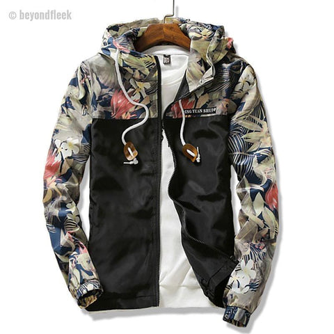 New 2018 Slim Fit Print Men Hooded Jacket