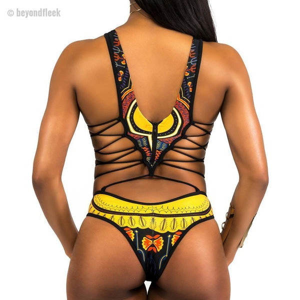 2018 Sexy African Print One Piece Swimsuit