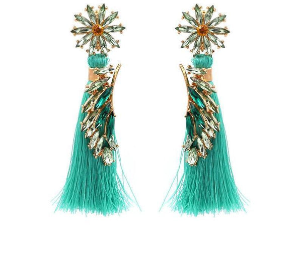New Fashion Long Tassel Flower Dangle Drop Statement Earrings