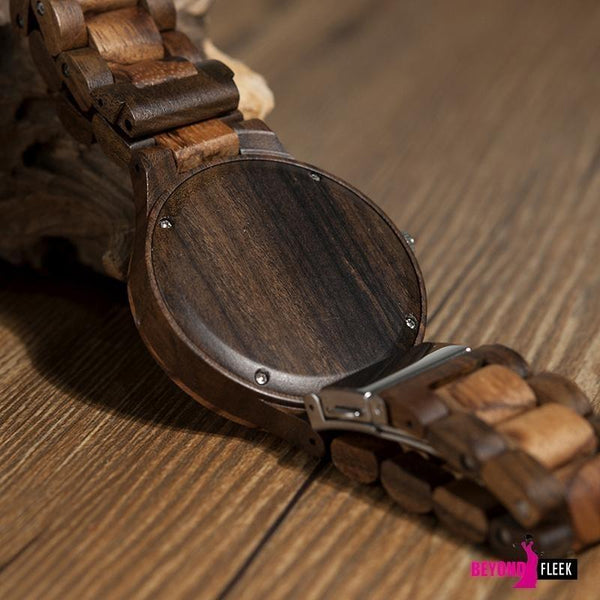 BOBO BIRD Round Vintage Zebra Wood Case Men Watch