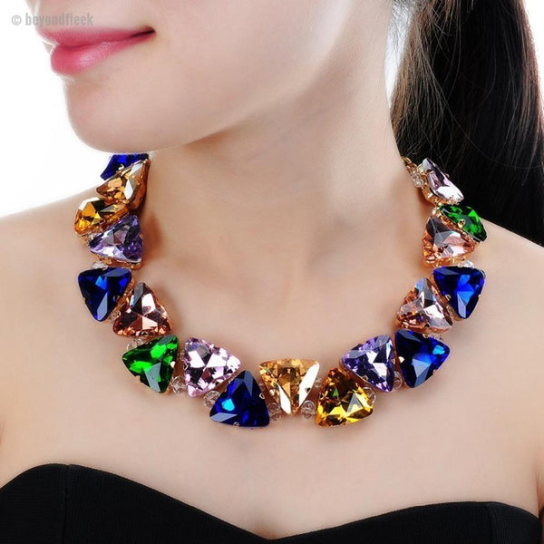 Gold Chain Triangular Glasses Chunk Statement Necklace