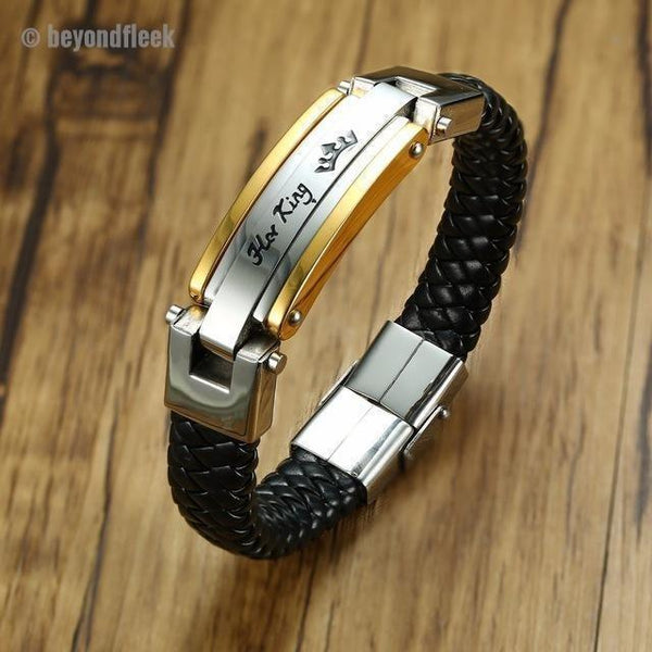 Her King - His Queen Stainless Steel Braided Leather Bracelet Set (Added to cart separately)