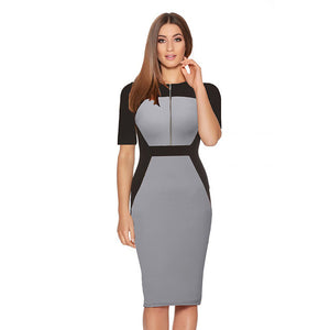 Grey Mood Vintage Office Work Dress