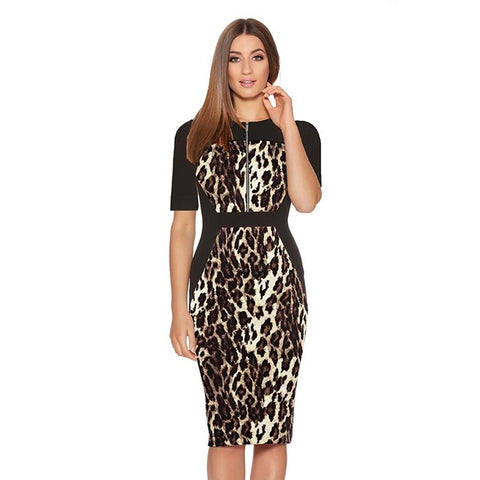 Leopard Vibes Vintage Office Work Dress