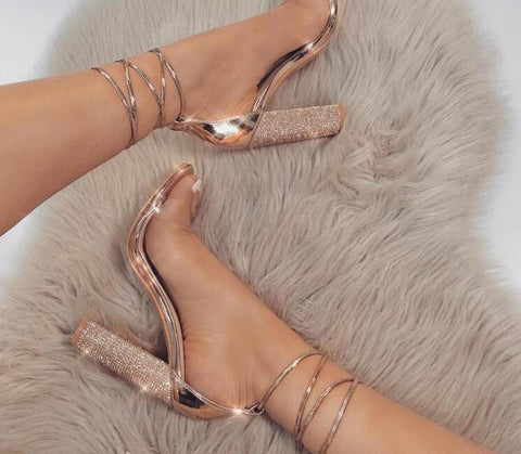 New 2018 Rhinestone Heel Sandals