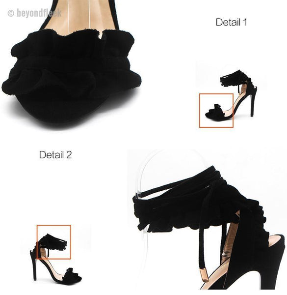 Ruffle Lace-Up Fashion Sandals