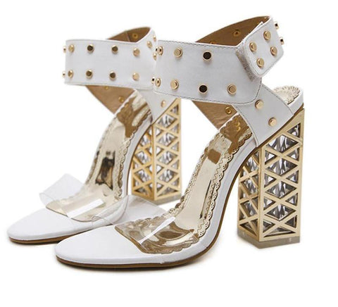 2018 Sexy PVC Crystal Open Toe High Heels Sandals