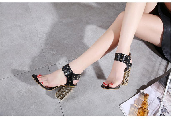 Sexy PVC Crystal Open Toe High Heels Sandals