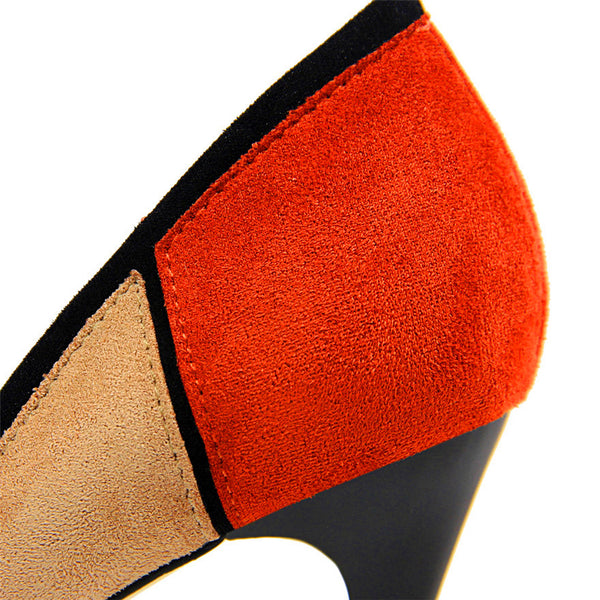 Pointed Toe Color Block Office Shoes