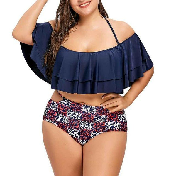 Sexy Plus Size Floral Print Two Piece Swimsuit