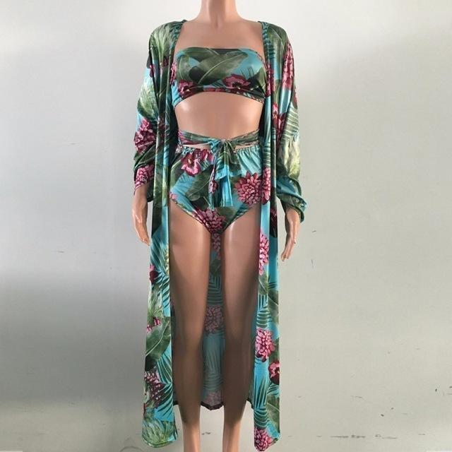 Newest Sexy Tropical Print 3 Piece Bikini Set
