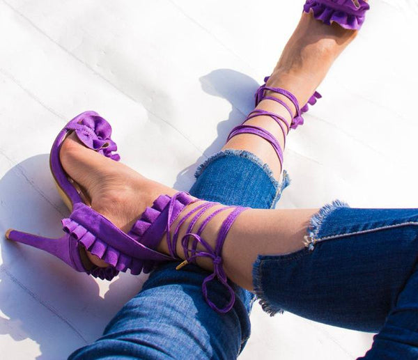 Lace Up Ruffle High Heels