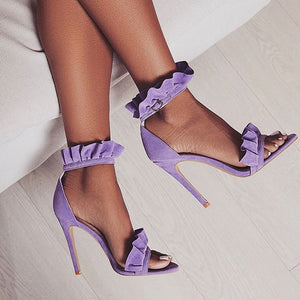 Ruffle Style Ankle Strap High Heels Sandals