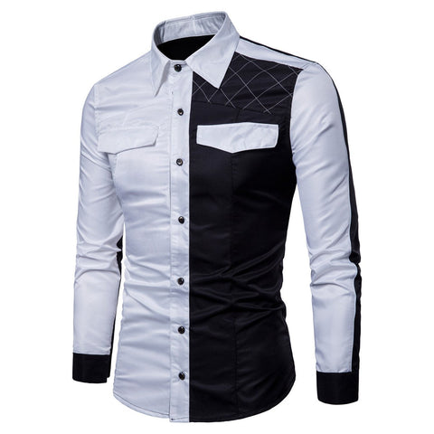 Men's England Style Patchwork Dress Shirts